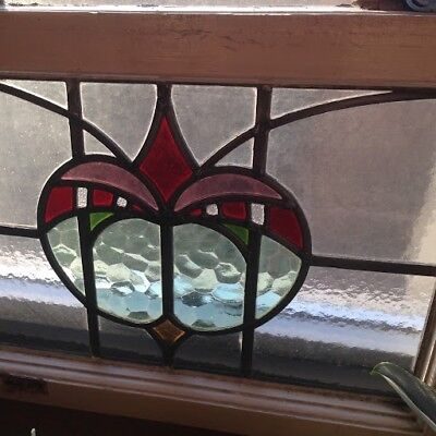 Vintage leaded stained glass rectangular window - red, pink and green glass
