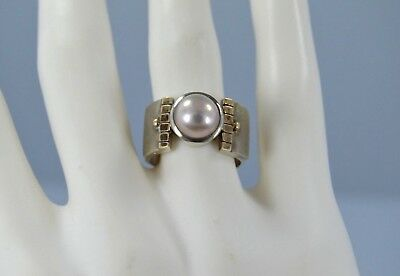 Vintage STERLING SILVER 8 mm Solitaire Pearl wide Ring size 6.5