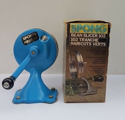 Vintage or Retro Turquoise Blue Spong Bean Slicer 102 in Original Box