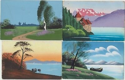 HAND PAINTED Landscapes NATURE Trees Sea - 4 Vintage Colour German PCs c1920s