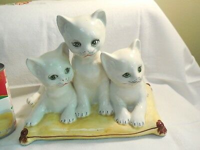 Italy Art Pottery Kittens on a Pillow Adorable Green Eyed White Cats