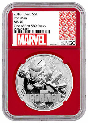 2018 Tuvalu Iron Man 1 oz Silver Marvel NGC MS70 First 589 Struck Red SKU53500
