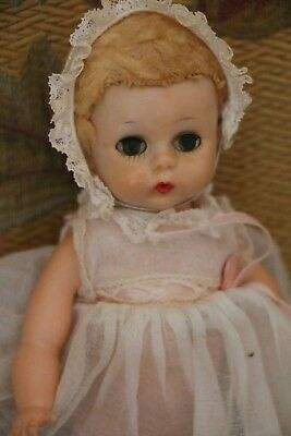 Vintage Madame Alexander Little Genius Doll, 7 1/2 IN, 1950's Tagged Dress