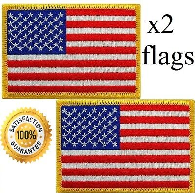 """USA AMERICAN FLAG EMBROIDERED PATCH IRON-ON / SEW-ON GOLD BORDER (1 3/4 x 2¼"""")"""