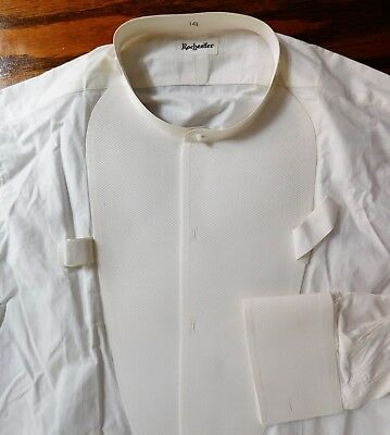 Starched Marcella tunic dress shirt Rochester 14.5 vintage collarless UNUSED