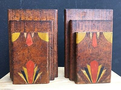 Art Deco Wooden Bookends - Hand Made - Vintage - Decorative - Solid