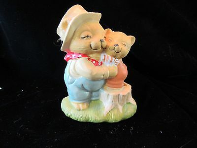 Papa Bear and Baby Bear Hugging Ceramic Figurine - Blue Jean Overalls on Dad