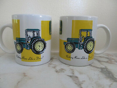 John Deere Coffee Mugs Green Yellow Logo Tractor  Double-sided by Gibson