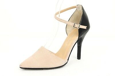9e36239fb56 Womens CHINESE LAUNDRY black beige fabric ankle strap pumps sz. 7.5 NEW!