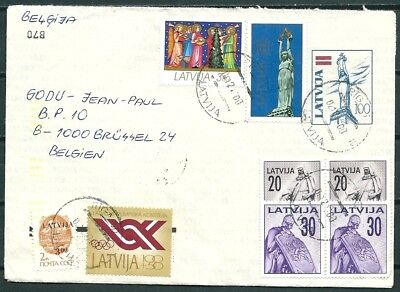 Latvia 1992 Uprated Postal Cover, Posted To Belgium, Many Stamps -Cag 301017