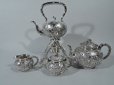 Export Tea Set - Antique Asian China Trade  - Chinese Silver - Hung Chong