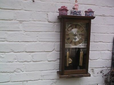 Quartz Wooden Wall Clock Battery Operated No Gong Or Chime