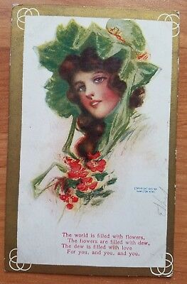 Antique Postcards Flower Love Valentines Day Early 1900's Posted