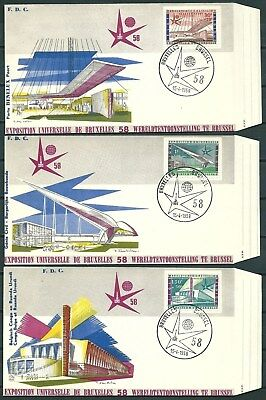 Belgium 1958 Lot Of 6 Covers International Exhibition Of Brussels -Cag 030516