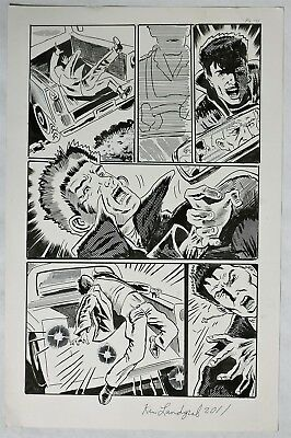 S499. Original Convention Comic Art Page Signed by Artist KEN LANDGRAF (2011) ~