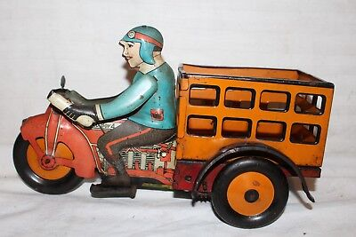 Antique Vintage 1930's Marx Speed Boy Motorcycle Tin Litho Wind Up Toy~Works