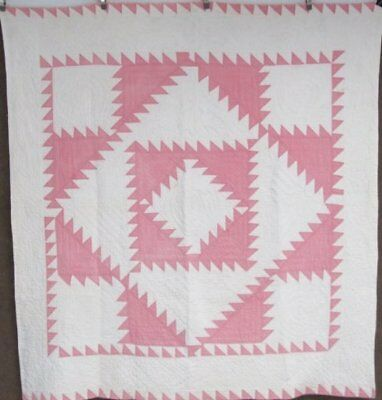 Beautiful Quilting! c 30s Sawtooth Center Diamond VINTAGE Quilt Pink White