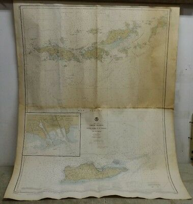 Vintage 1978 Nautical Chart:Virgin Islands-Virgin Gorda to St.Thomas & St. Croix