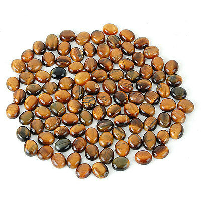 506 Cts/105 Pcs Untreated Natural Tiger Eye Oval Cabochon Gemstones ~ Wholesale