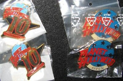 Planet Hollywood: Pin Collection: 10Th Anniversary (2) & Aspen Logo (2)