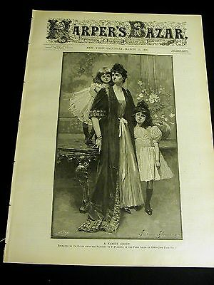 Harper's Bazar 3-22-1890 Very Fine w VICTORIAN EASTER GOWN PATTERNS Irish Doctor