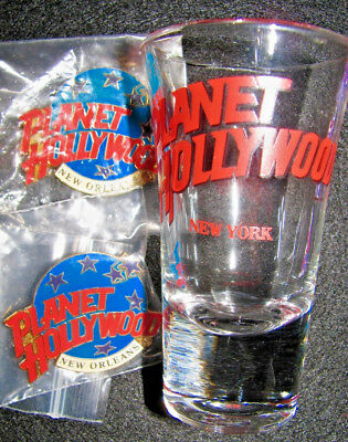 Planet Hollywood: Pin Collection:new Orleans Logo (2), New York Shot Glass (1)