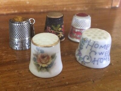 Lot of 5 VTG Sewing Thimbles 3 Metal 2 Ceramic Home Sweet Home Great America