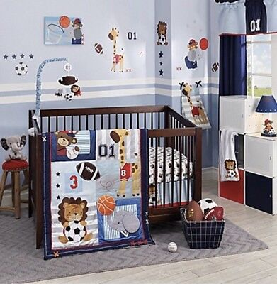 New Future All-Star Lambs & Ivy 4 Piece Crib Bedding Set Infant Baby Boy Nursery