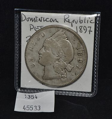 West Point Coins ~ Dominican Republic Silver Peso 1897 KM#16