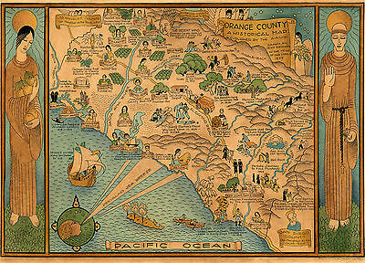 c1922 Pictorial Historical Map Orange County California Wall Art Poster Vintage