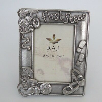 """First Steps Baby Photo / Picture Frame Silver Pewter by RAJ 2 1/2"""" x 3 1/2"""" NEW"""