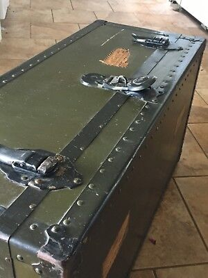 VNTG Industrial STEAMER TRUNK GREEN & BLACK coffee table storage chest rustic