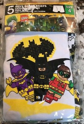 Nwt Boys 5 Pack Lego Movie Batman Boxer Briefs Size 4
