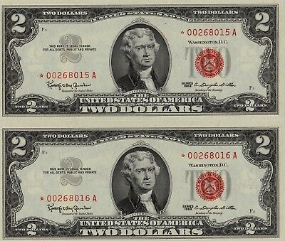 (2) 1963* $2  RED SEAL *STAR* U.S. NOTES UNCIRCULATED GEMS in CONSEC Numbers