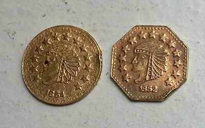 1852 & 1854 2 - California Gold 1/2 Indian Head Fractional Tokens, 1854 - holed