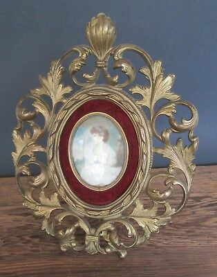 Early Cast Iron Brass Art Nouveau Ornate Oval Stand Up Picture Frame Portrait