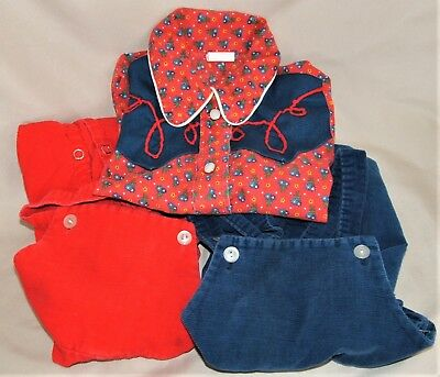 Toddler Sz 3 CHEVRON Western Cowboy Shirt and 2 Pr J C PENNEY Overalls Sz 2