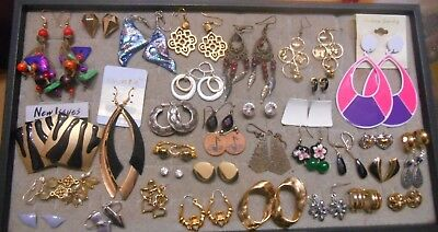 Mixed Lot Of 35 Pairs Of Earrings,few New,most Vintage