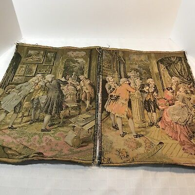 Victorian Tapestry Unframed Antique Set 2