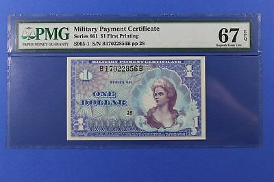 Military Payment Certificate Series 661 $1 PMG 67 EPQ Beautiful Little Note