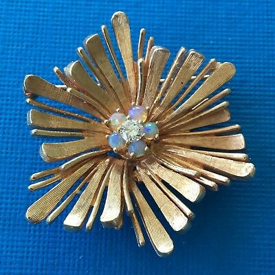 Art Deco 14k Gold Starburst Brooch Pin With Opals & Diamonds 12g