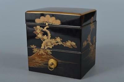 M3269: Japanese XF Old Wooden Lacquer ware FOOD BOXES Jubako Inkstone case w/box