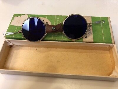 Vintage American Optical AO Safety Melters Goggles Steampunk Cobalt Blue 1031E