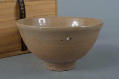 M3257: Korean Joseon Dynasty Buncheong White glaze TEA BOWL Green tea tool w/box