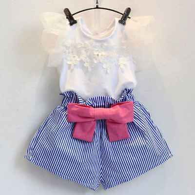 2Pcs Kids Girls Outfits Lace Flare Sleeve T-shirt Tops Stripe Shorts Set