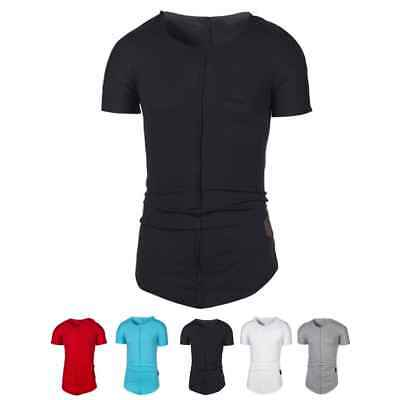 Men's Summer Short Sleeve Tops Round Neck Long Loose Hip Hop Casual T-shirt