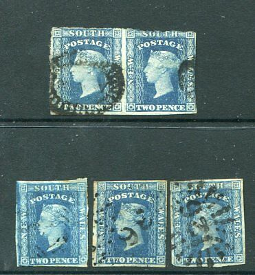 New South Wales 1856 2D Blue Diadem Imperf X 5 Eamples Used
