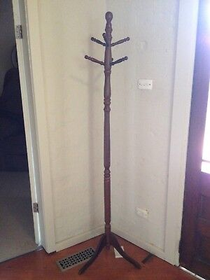 Wooden Umbrella Hat Stand Rack Tree With Rotating Hooks