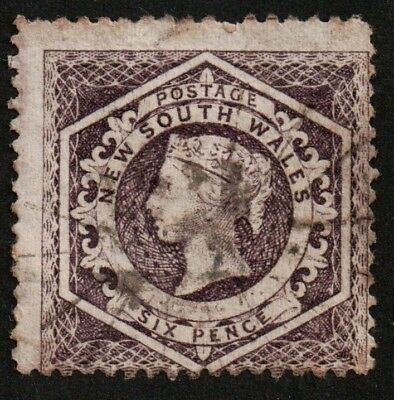 AUSTRALIA NEW SOUTH WALES SG165B 1866 6d PURPLE WATERMARK  UH