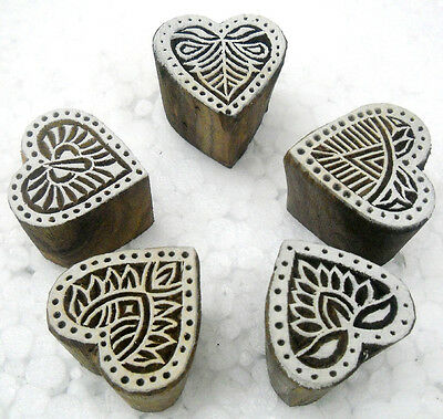 Wholesale Pack of Five Heart Shaped wooden block stamps/ Tattoos